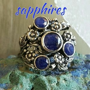 Artist Sapphire Ring Sterling Silver